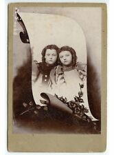 YOUNG SISTERS SUSIE + ANNIE MAY HALE IN VELVET DRESSES CABINET PHOTO