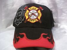 Fire Department Ball Cap Hat in Black W/ Flames on Bill New Nwt H24