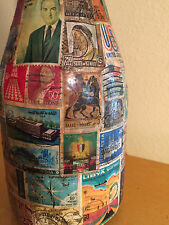 Postage Stamp Decoupaged  Lamp