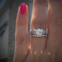 2.00ct Diamond 14k White Gold Wedding Engagement Vintage Set Ring For Women's