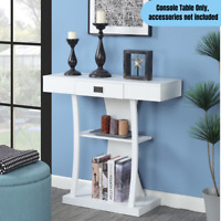 Modern 1-Drawer Console Table Home Office Accent Storage Display End Stand White