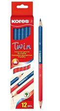 12 x Kores 2-Farb-Stift Buntstift Twin, Blau und Rot, Korrektur Stift für Lehrer