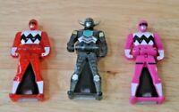 Power Rangers Lot Of 3 Keys- Pink- Red- Black- Bandai