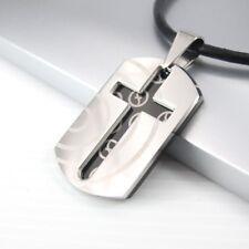 Nuevo Cromo Negro Acero Inoxidable Cruz De Plata Colgante Collar De Cuero Negro