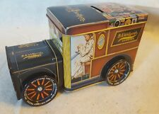 WOLFGANG'S CANDIES ANTIQUE DELIVERY TRUCK - TIN BANK With TURNING WHEELS