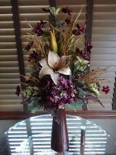 Silk Floral Arrangement Purple Hydrangeas Cosmos Beige Tan Lilies Brown Vase