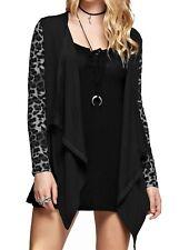 GeeGee Women's Wool Blend Leopard Print Open Front Cardigan Sweaters (Black, S)