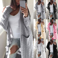 Women Winter Warm Cardigan Coat Tops Chunky Knitted Oversized Sweater Jumper Hot