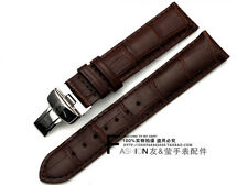 19mm Brown Leather Watch Band with Buckle For 19mm T17 T461 PRC200 T014 T41