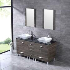 60'' Bathroom Wood Vanity Cabinet Glass Top Ceramic Sinks W/Faucet Drain Mirror