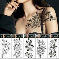 Art Sticker Waterproof Temporary Tattoo Black Sketch Nice Fake Cool Flower K5K0