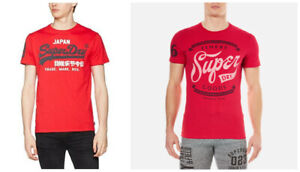 **Superdry**Mens Round Neck Printed Tee Shirt S/Sleeve Vintage-style Tops XS-2XL