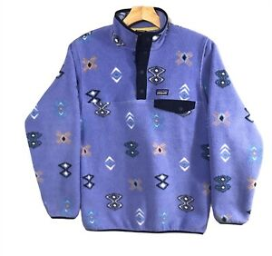 Girls Patagonia Synchilla Snap-T Fleece Pullover Size XL Blue Aztec