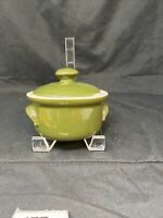 Vintage HALL CHINA 820 1/2 Green Handled Lidded French Onion Soup Bowl