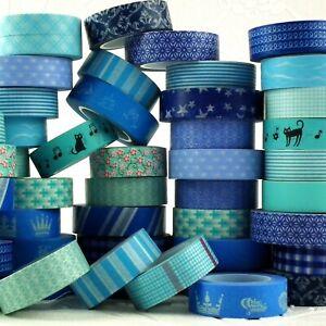 Paper Washi Masking Tape Adhesive Roll Decorative Card Craft Trim BLUE Set