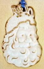 Wedgwood White Jasper Santa w/Gold Christmas Ornament-with Original Box