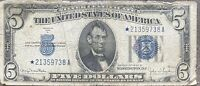 USA 5 Dollar 1934 D Silver Certificate STAR NOTE Banknote Schein Five #24311