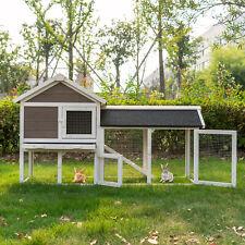 "52.8"" Fir Wood Rabbit Hutch Chicken Coop Cage Small Animal House w/Run"