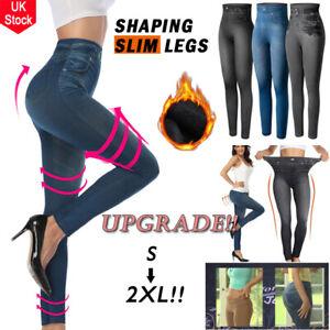 Women Faux Denim Jean Legging Slimming Jegging Shaper High-Waist Pencil Pants UK
