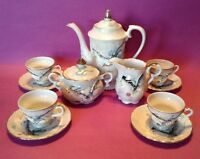 DragonWare Gray Luster Tea Set - Teapot Sugar Creamer - 4 Cups & Saucers - Japan