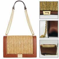 INC Women's Ajae Flap Straw Woven Crossbody Shoulder Bag Chain Handbag Brown