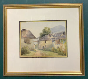 Antique Victorian Watercolour In Gold Gilt Style Frame, Signed