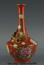 """10 """"China unterglasur rot Altgold Porzellan Drachen Vase Flasche markiert"""