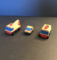 Lot of 3 Vintage 1971 MATTEL PUTT PUTT  Small Wooden Vehicles Car Truck - Korea
