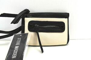 Steve Madden Multi Zip Pouch Wristlet Clutch Black White New! NWT
