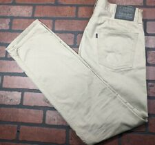 Levi's 513 Slim Straight Fit Beige Blue Jeans Tag Sz 34x34=Sz 34x33 Excellent UC