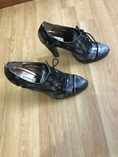 DUNE WOMENS BLACK SILVER HIGH HEELS ANKLE BOOTS SHOES SIZE UK 5 EUR 38