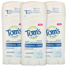 3 Pack Tom's Of Maine Natural Original Care Deodorant Unscented 2.25 Oz