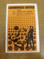 11/10/1972 Cambridge United v Hereford United [1st League Season] (creased). Tha