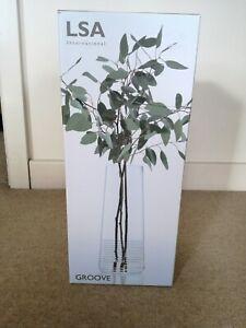 LSA International Groove Large Vase, Clear, H39cm