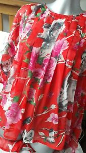 New Tags Traffic People Red Floral/bird/animal Fusion Summer Top Size M