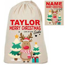 Personalised Cotton Cute Reindeer Design Santa Sack Christmas Present Sacks