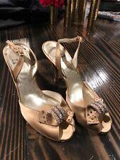 Stuart Weitzman Gold Crystal Wedding Shoes  Heels Size 7.5 Bronze Sling Back