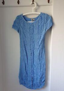 Asos Crochet Layered Dress, Blue, Size UK 14