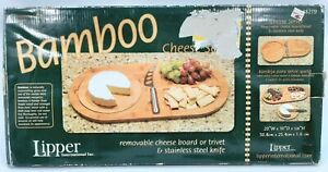 Lipper Bamboo Chartreuse Removable Cheese Board Trivet & Stainless Steel Knife