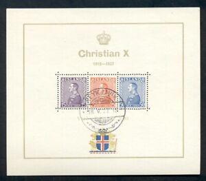 ICELAND #B5 (221-3i)Chr X. Souvenir Sheet, used, VF, Facit $400