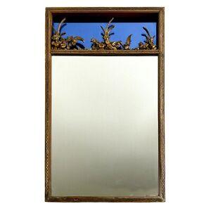 "Antique 29.5"" x 17.25"" Art Deco Hallway Vanity Mirror with Golden Lattice Border"