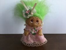 "Vintage 1985 DAM Norfin Troll Doll 3"" Girl in pink dress Green Hair"