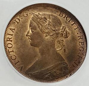 1862 Choice UNC Queen Victoria Half Penny CGS 82