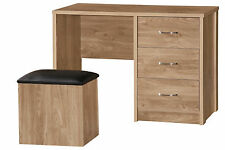 Holland Oak Furniture 3 Drawer Dressing Table Desk & Ottoman Storage Stool Set