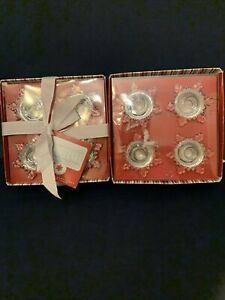 2 Williams Sonoma Snowflake Taper Holders Set/4 Clear Glass Snowflakes