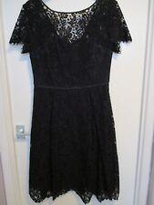 Half price! M&S lace cocktail dress, BLACK, size 10. Satin bound edges/low back.
