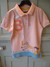 Joules girls applique Jnr Bonnie peach polo shirt age 9-10 excellent condition