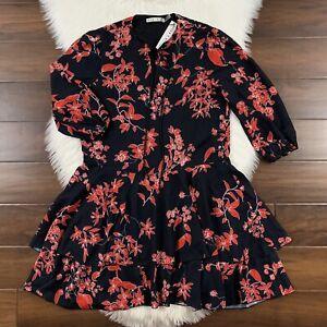 Alice + Olivia Women's Size Small Black Cherry Vine Floral Moore Mini Dress