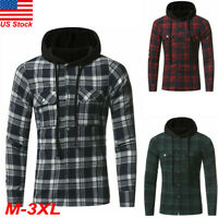 US Mens Brawny Buffalo Plaid Flannel Shirt Long Sleeves Button Front Check Hoody