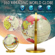 3 Sizes Vintage 360° Rotating Globe Swivel Map Stand Table Earth Geography World